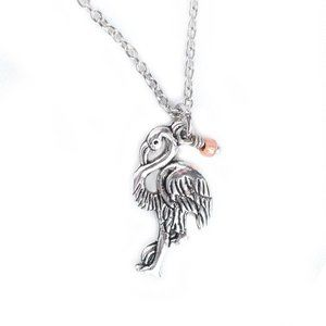 Silver Flamingo Charm Necklace w Coral Bead